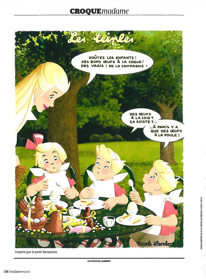 Madame Figaro : Oeufs coque, les triplés jouent avec les mots !