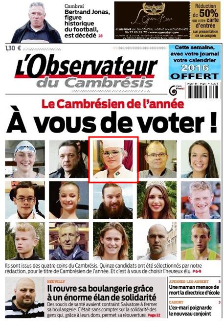 Votons pour Mathilde Blas sélectionnée pour concourir au titre de « Cambrésien de l'année »