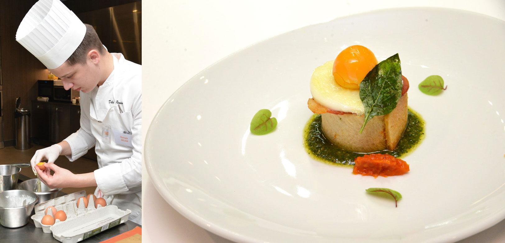 « L'Œuf version miroir aux saveurs de l'Italie : pesto de roquette, fondue de tomate basilic parmesan au lard de Colonnata dans un tube croustillant » Romain Delair