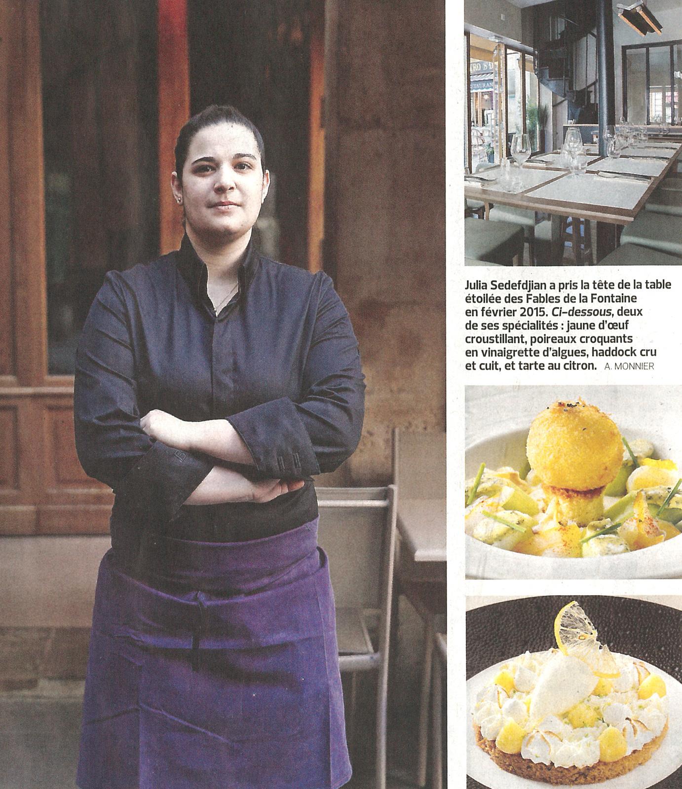Vu dans Le Figaro : La spécialité de la jeune chef Julia Sedefdjian au restaurant Les Fables de la Fontaine - Paris
