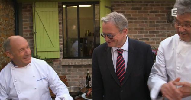 Jean-Luc Petitrenaud avec Gérard Besson et le grand Guy Legay ex-Ritz grand jury du Trophée CNPO des Jeunes Cuisiniers