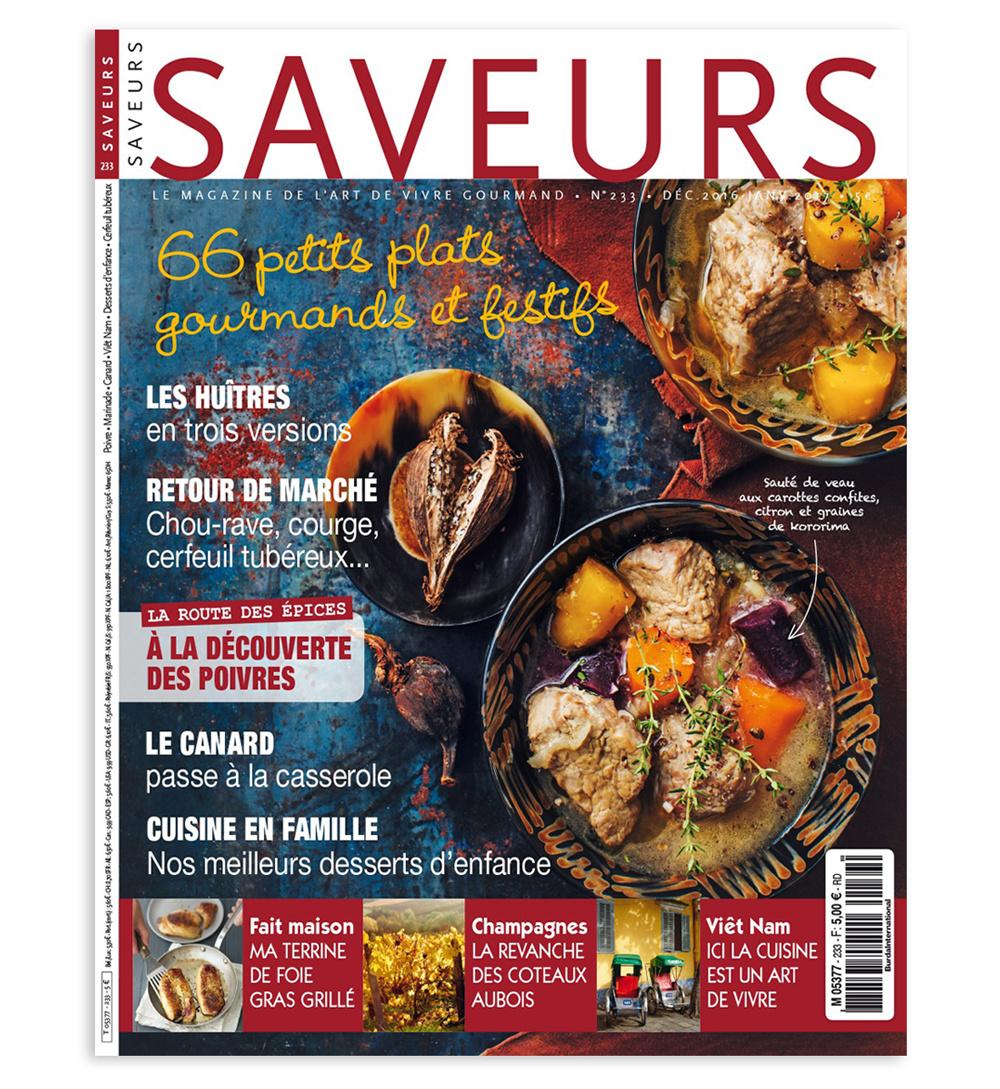 """Dans le superbe magazine """"Saveurs"""", 66 petits plats gourmands et festifs !"""